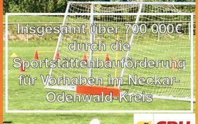 Über 700 000€ Förderung fließen in Sportstätten im Neckar-Odenwald-Kreis