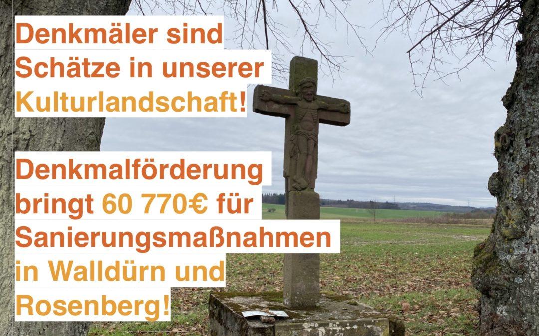 Walldürner und Rosenberger Projekte profitieren von Denkmalförderung